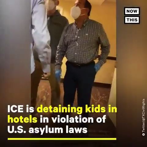 ICE is illegally detaining immigrant children in hotels. Watch these lawyers get violently removed from a Hampton Inn in Texas after trying to give legal aid to the kids there