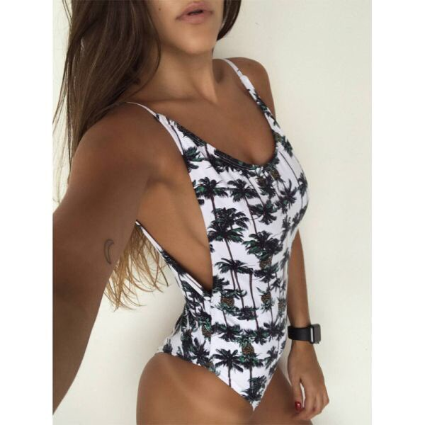 Floral printed polyester #swimsuit V neck push up padded #swimwear Comfortable breathable fabric and easy to dry