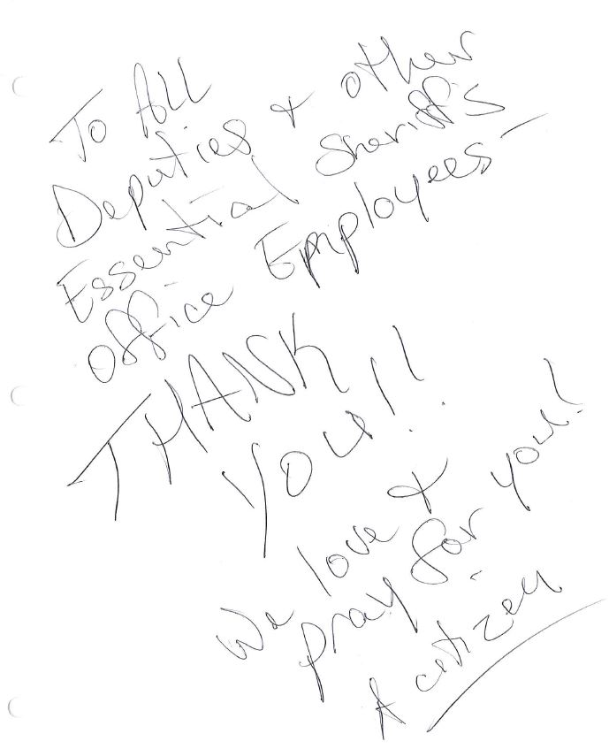 Our Records staff arrived this morning to find this note on the front doormat. To the citizen that left this, Thank You! This made our Friday!!! We love serving this wonderful community.