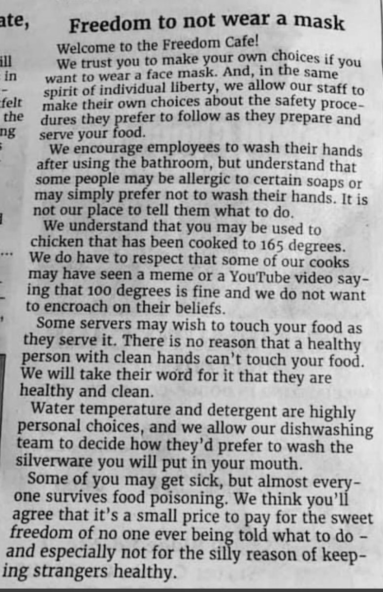 """This is possibly the best thing I have seen on Twitter, ever. To all the anti-vax, anti-mask, anti-everything people, this is the logical conclusion of """"freedom"""". Please read it. All of you."""