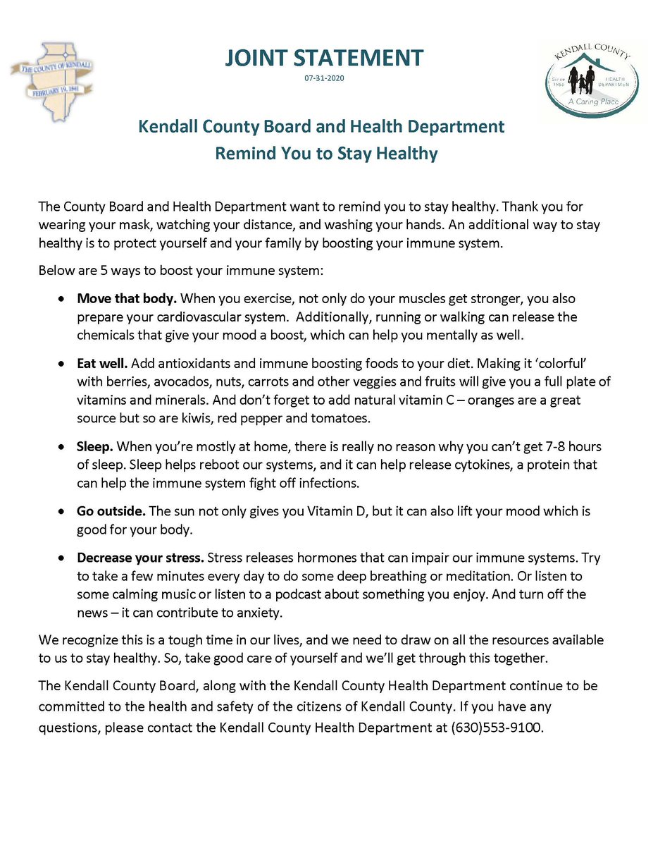 Kendall County Board and Health Department Remind You to Stay Healthy