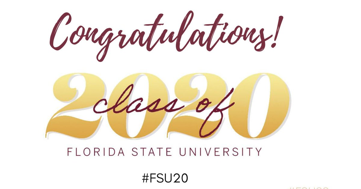 Congratulations #FSU20 Summer Graduates!  Tune in for the commencement ceremony today at 7:30 pm Eastern time on the #FSU website, Facebook and YouTube channels and simulcast locally on 4FSU (Comcast Channel 4). Links will be available at