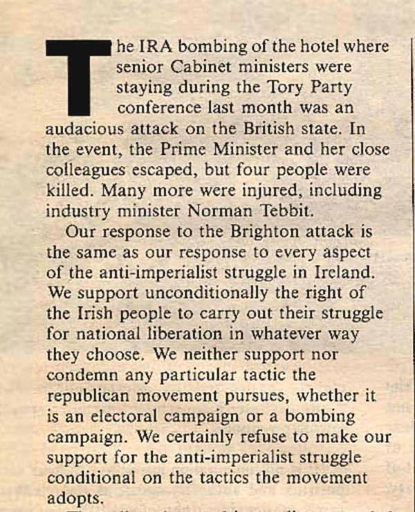 Thread. #ClaireFox and the RCP defended the right of the IRA to bomb the Tory Party conference in 1984. Now the same Tory Party has made her a peer. 1/