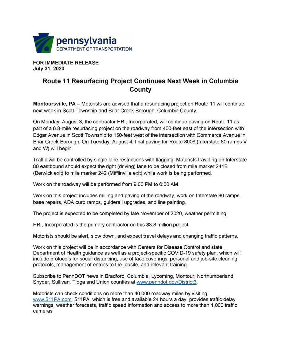 Route 11 Resurfacing Project Continues Next Week in Columbia County