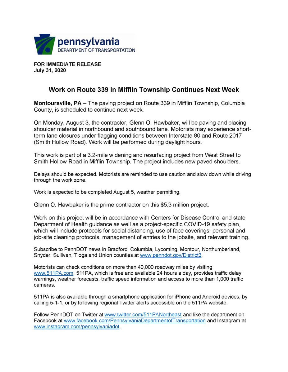 Work on Route 339 in Mifflin Township Continues Next Week