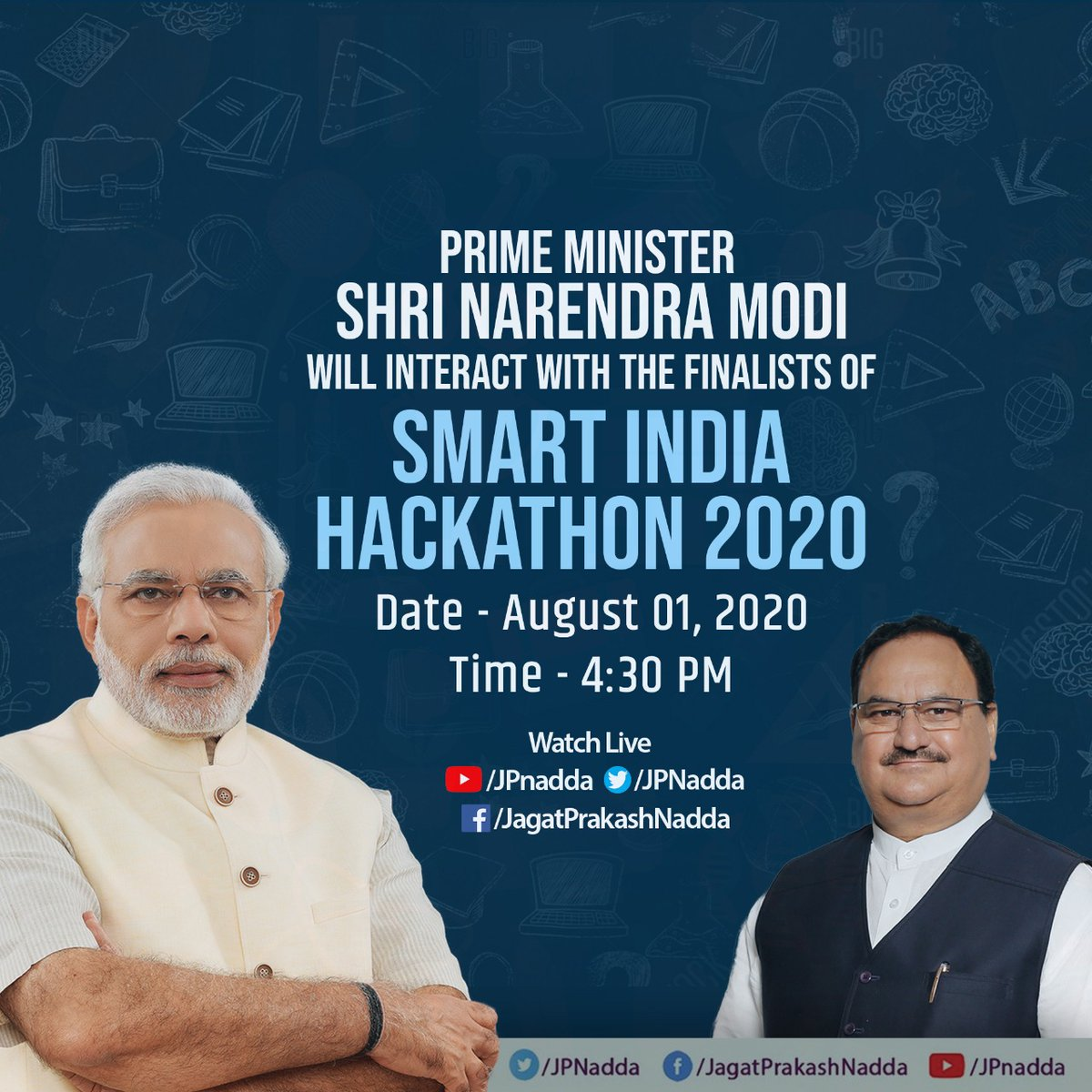 Hon Prime Minister Shri @narendramodi Ji will interact with the Finalists of Smart India Hackathon 2020 at 4:30 PM tomorrow.