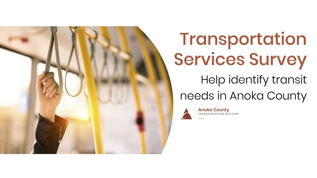 Do you use #transit or #transportation services in Anoka County or would like to in the future? We want to hear from you! Go to  to learn more. Share your voice as we work to identify transit needs in Anoka County!