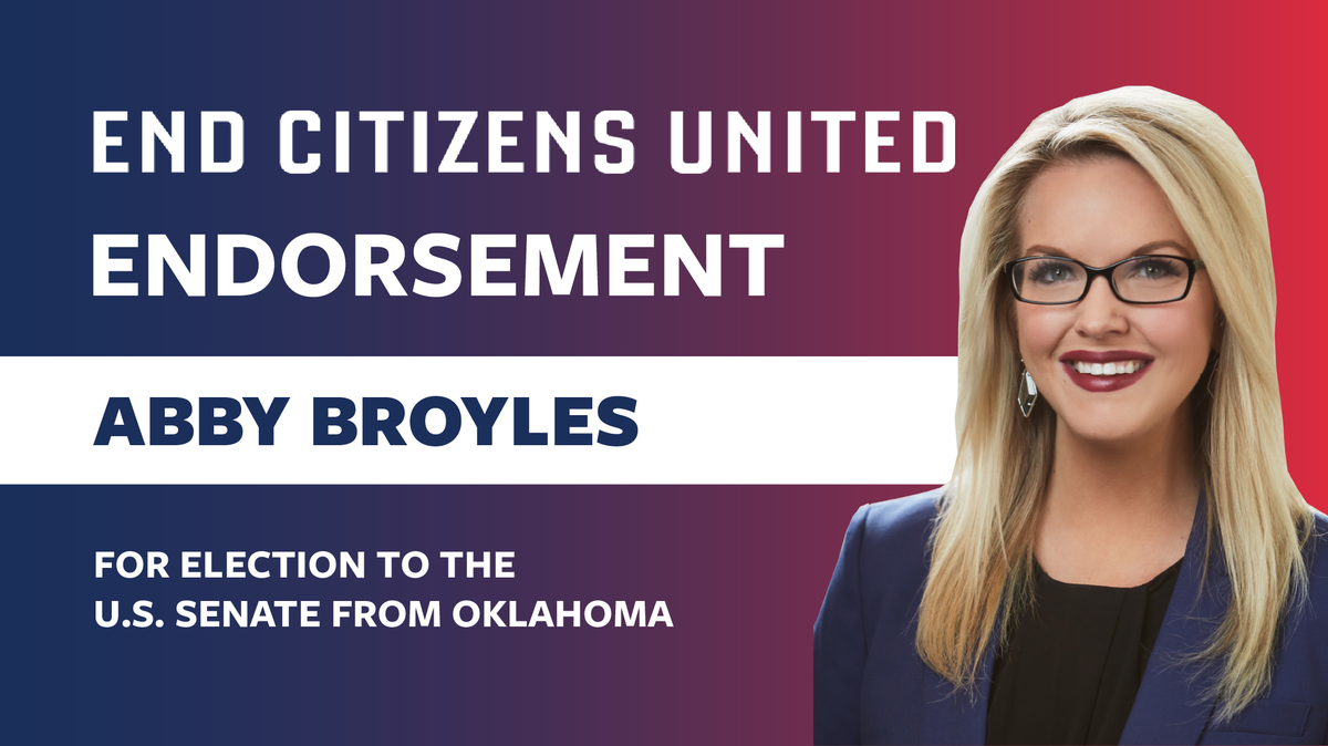 [ENDORSEMENT ALERT] In the race for #OKSEN, we're backing @abbybroyles. As an investigative reporter, Abby uncovered political corruption in OK and exposed lawmakers who were wasting taxpayer dollars. In the Senate, she will work hard to reform our rigged campaign finance system.