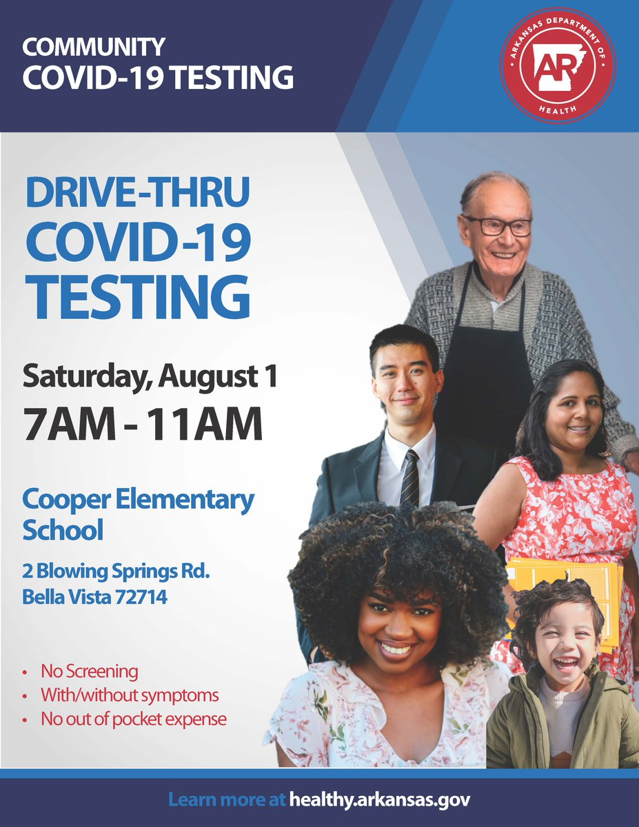 REMINDER: The ADH COVID-19 testing event at Cooper Elementary is drive thru from 7 to 11 a.m. No symptoms or screenings are necessary.