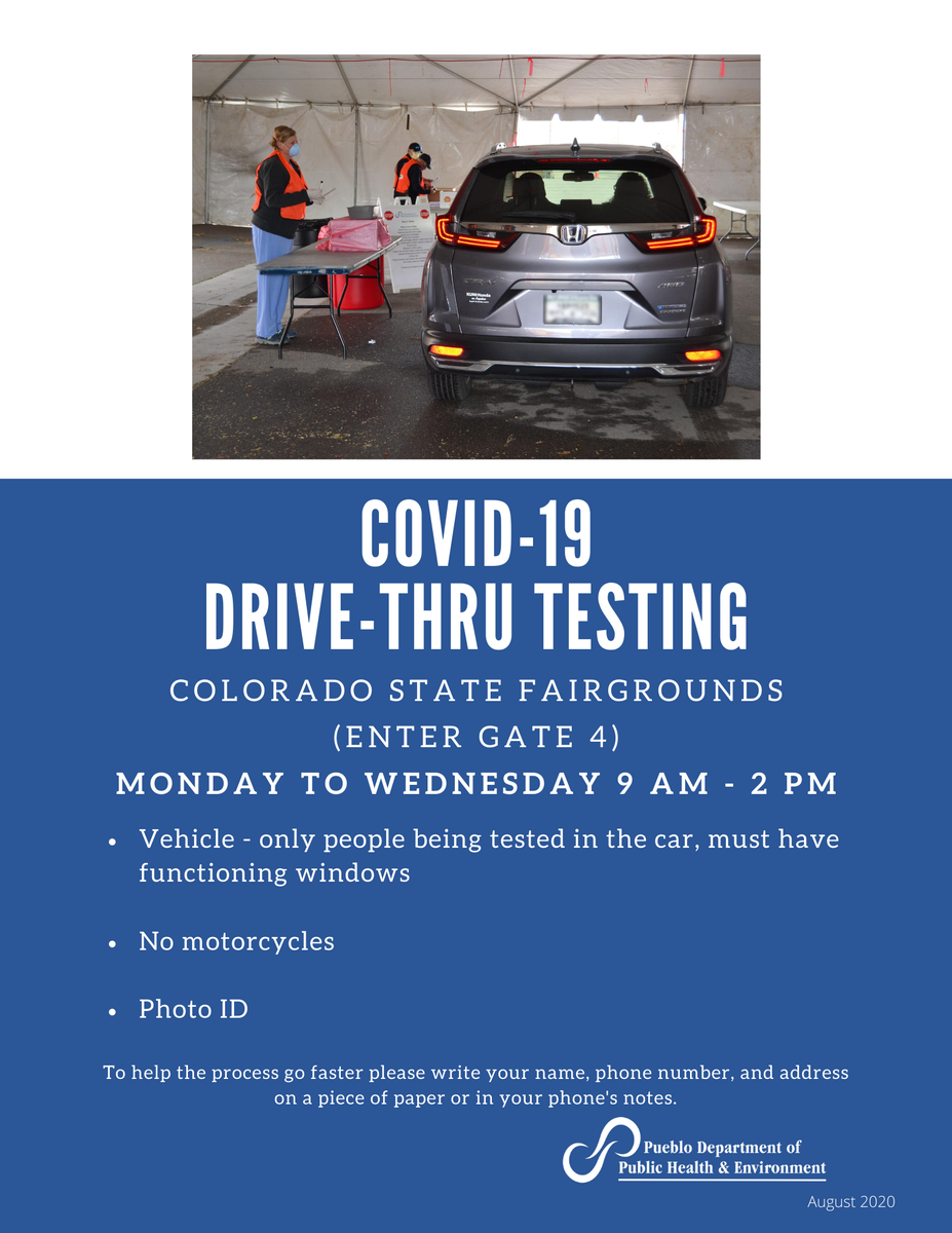 Testing for COVID-19 at the Colorado State Fairgrounds is continuing through August! Open Monday to Wednesday, from 9am until 2pm. Testing criteria can be found at