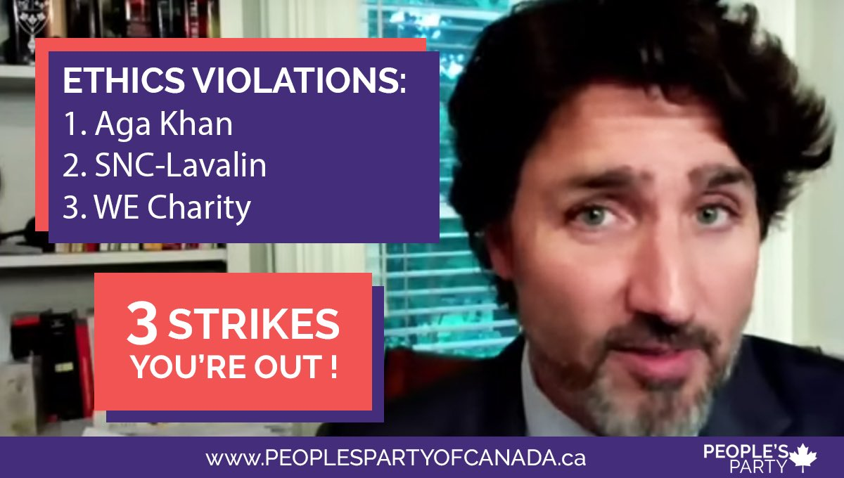 3 strikes, you're out!  #WEscandal  #TrudeauCorruption