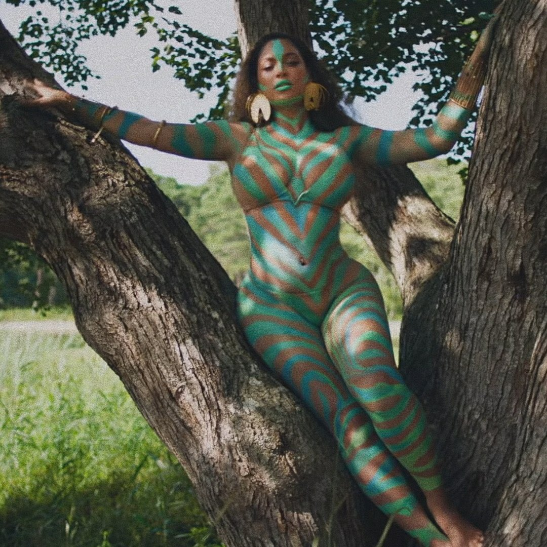 "Body paint by me on THE Beyoncé Giselle Knowles Carter for the ""Already"" portion of #BlackIsKing. Blessed beyond measure. #KingAlready #shattamovement"