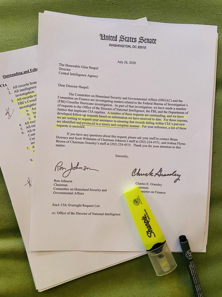 """NEW: Senate investigators @SenRonJohnson @ChuckGrassley renew push for CIA records including then Director Brennan's 2016 briefing to """"Gang of 8"""" + communications w/then Senate minority leader Harry Reid about """"persons or conduct"""" at issue FBI Crossfire Hurricane READ @CBSNews"""