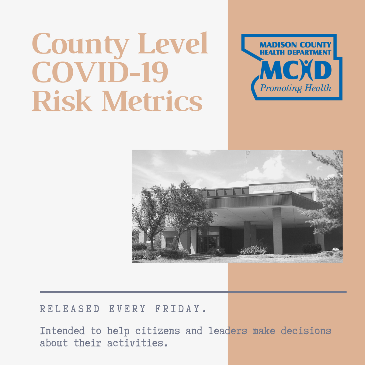 For the 3rd week in a row, we are in a Warning Zone for 1 of the 8 Metrics which is Cases per 100,000 population. It is imperative that everyone practices the 3Ws, sanitizes, and avoids large gatherings.   Weekly County Level COVID-19 Risk Metrics visit: