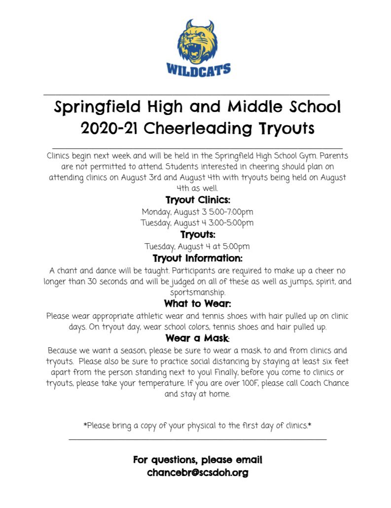 It's time for Cheerleading Tryouts - High School and Middle School - 2020-21 school year! Go CATS!!!!!!!💙💛