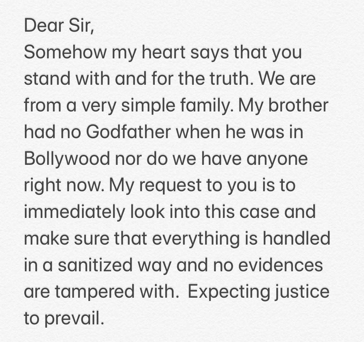 I am sister of Sushant Singh Rajput and I request an urgent scan of the whole case. We believe in India's judicial system & expect justice at any cost. @narendramodi @PMOIndia #JusticeForSushant #SatyamevaJayate