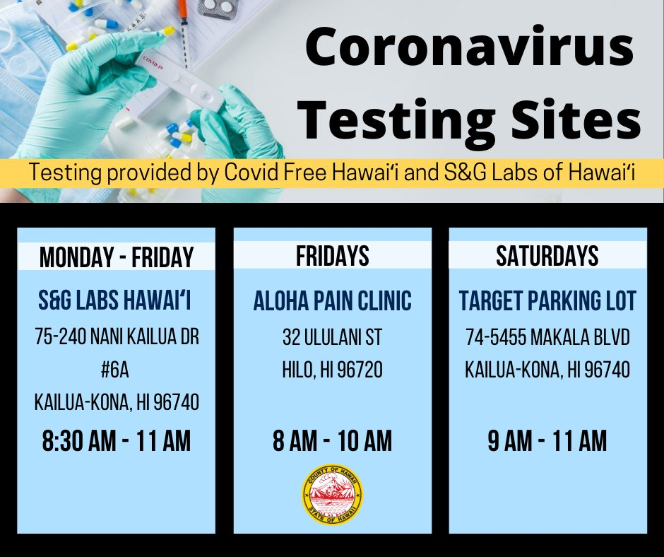 Here are three Covid-19 testing sites that are open to the public. Mahalo to Covid Free Hawaiʻi and S&G Labs of Hawaiʻi for providing the service!
