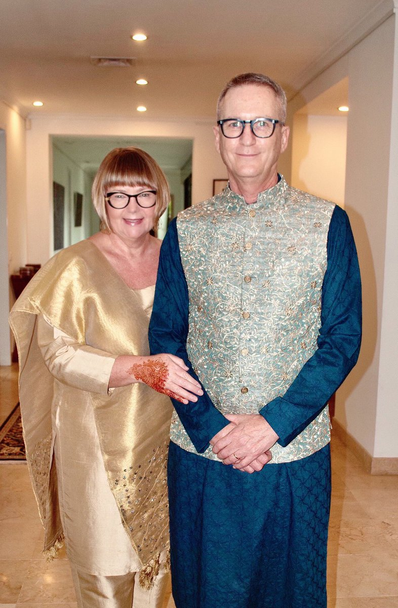 Eid Mubarak from Gaynor & I! #EidAlAdhais a great time to celebrate values of service, charity & family. It's a beautiful festival truly representing the rich culture & traditions of Pakistan.  P.S. Gaynor loved the bangles & mehndi, a Chaand Raat gift from me. #عيد_مبارك