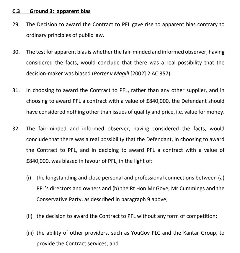 Third, we say there is apparent bias in the grant of this lucrative contract to long time associates of Gove and Cummings. We point out the Government offers no defence to this claim. And, importantly, we reserve our position in relation to whether there might be actual bias.