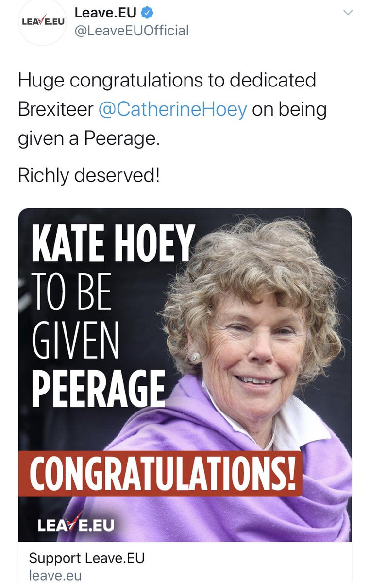 Why are we not asking why? Peerages are pay-offs, legalised quid pro quos. He owes Lebedev for his press baron fealty. He owes Gisela Stuart for keeping her mouth shut. What does he owe LeaveEU's Kate Hoey & Brexit Party's Claire Fox? What's the deal?