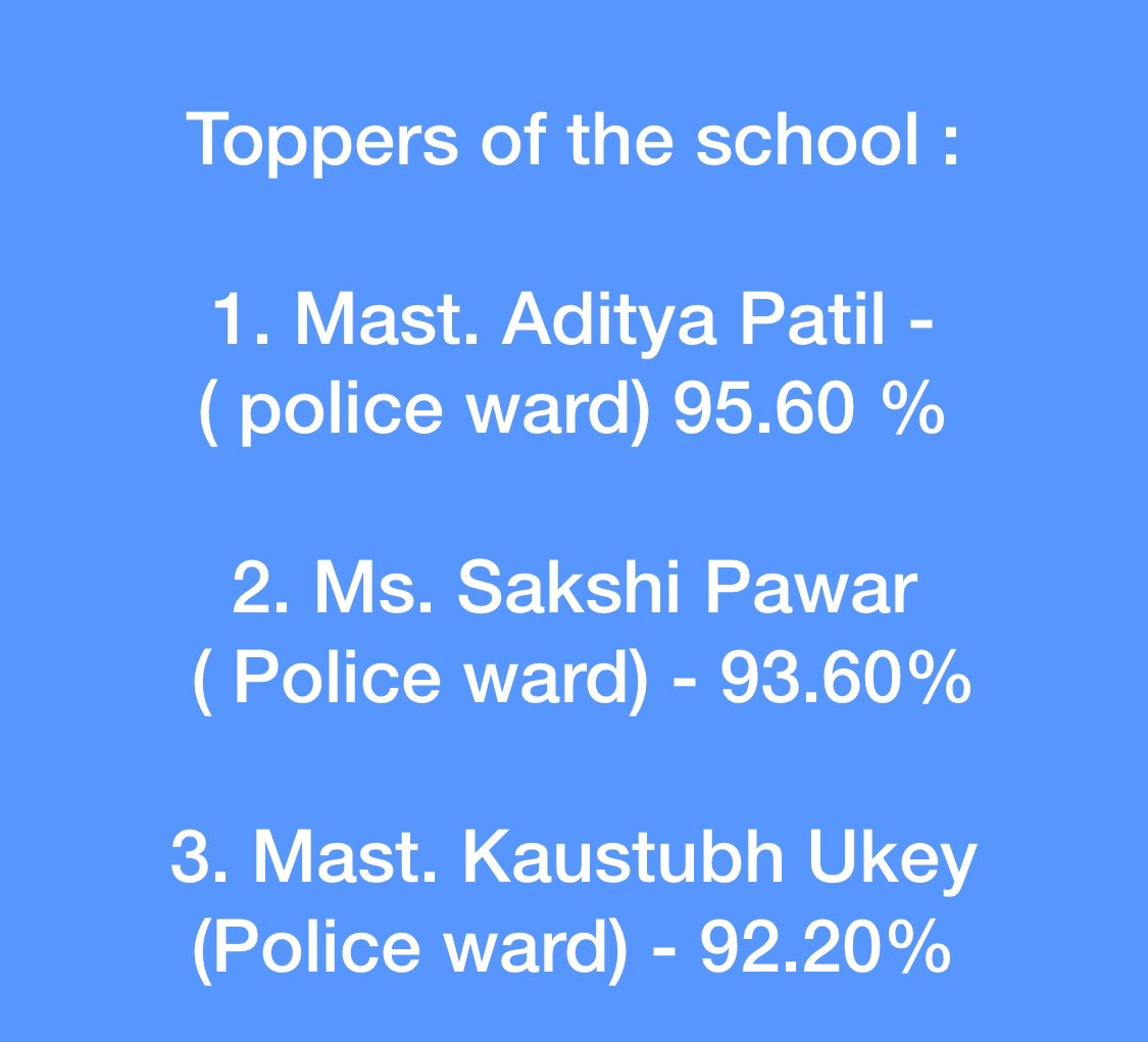 अभिनंदन व आभार Congratulations to mgmnt, teachers & staff of Symbiosis Police Public School run by Pune Citizen Police Foundation (PCPF) for 100% results in 10th.Thank u very much.  We can & will #domore