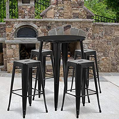 "Flash Furniture 30"" Round Metal Indoor-Outdoor Bar Table Set with 4 Square..."
