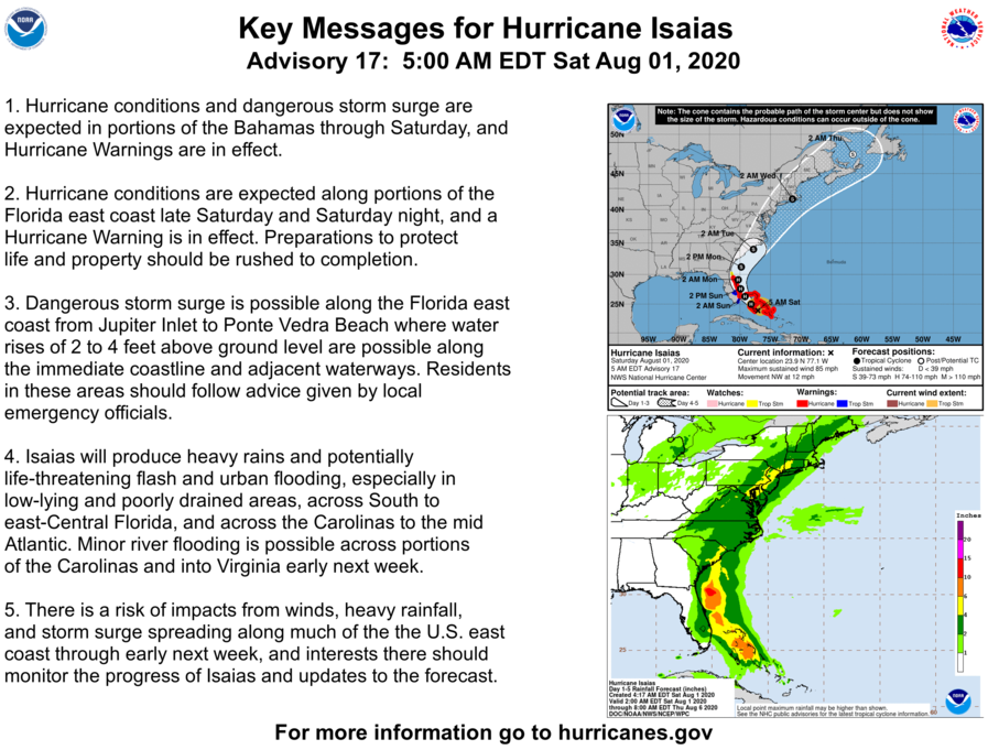 Good morning- here are the Key Messages for Saturday morning, August 1 for Hurricane Isaias.  The latest NHC forecast is at  and US local weather information is at