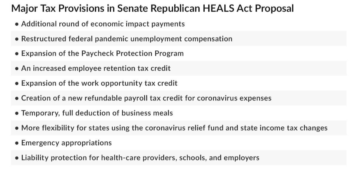 Below is a summary of the major tax provisions in the Senate's HEALS Act proposal.  Good or bad?  Let me know what you think!