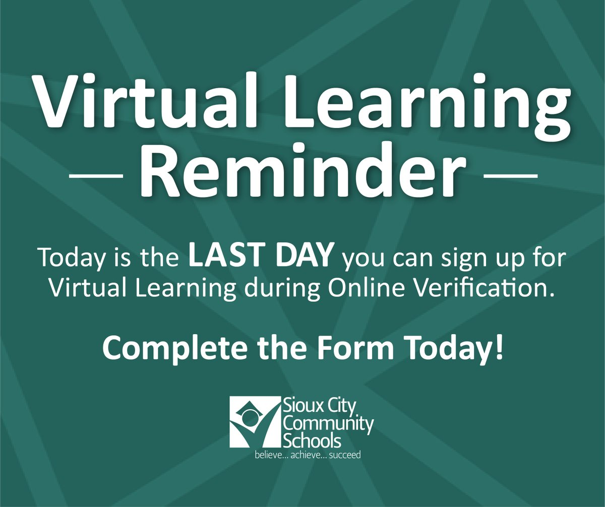 Attention #SCCSD parents and guardians. Today is the LAST day to elect Virtual Learning when you complete Online Verification. Please log in to your Infinite Campus parent portal to complete Online Verification and confirm all information for next year.