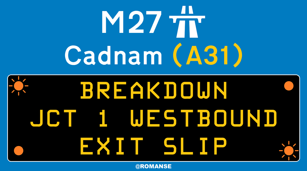 #M27 Westbound - One lane BLOCKED on exit slip at J1/#A31 #Cadnam due to broken down vehicle, short delays on approach.