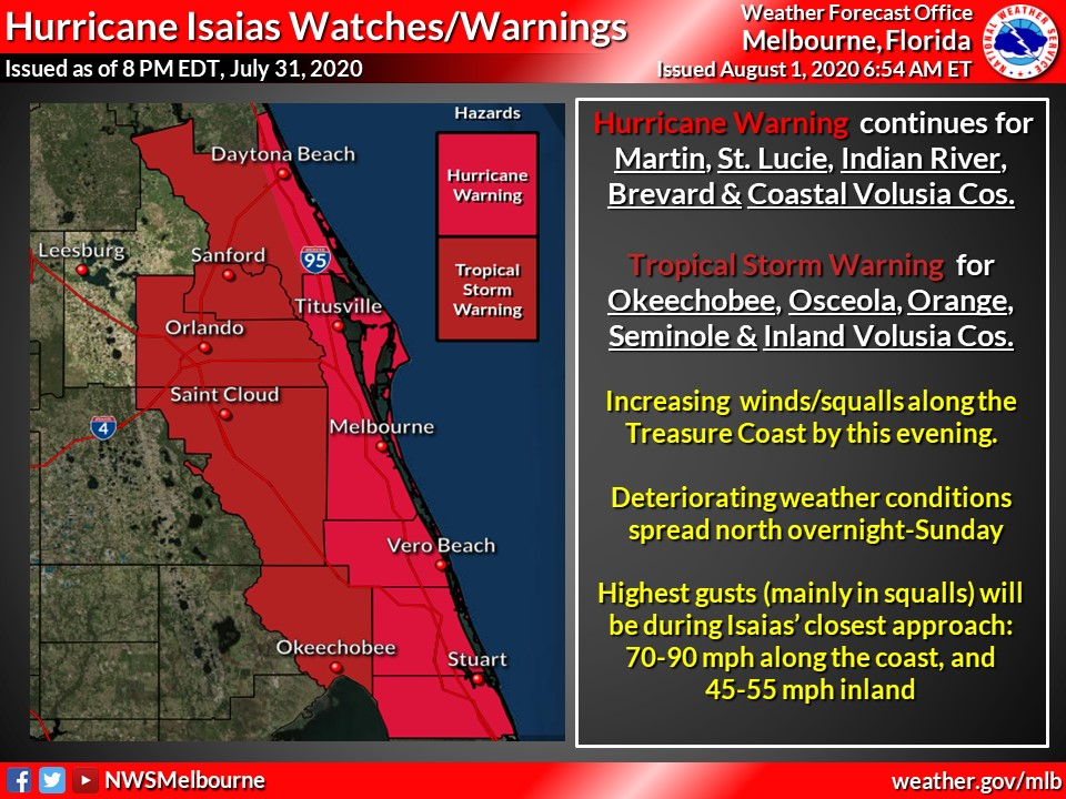 SAT 700 AM | Hurricane Warnings continue for all coastal counties of east central Florida. Tropical Storm Warnings for all inland counties EXCEPT Lake County. Finish your storm preparations today, before the weather starts deteriorating this evening.
