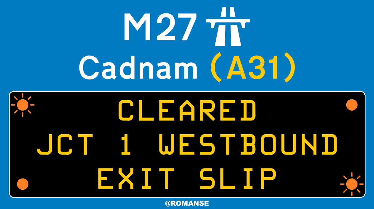 #M27 Westbound - Exit slip CLEARED following earlier broken down vehicle at J1/#A31 #Cadnam, short delays remain on approach.