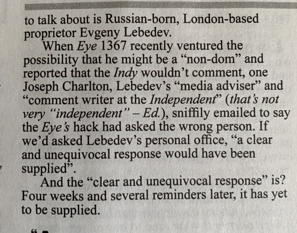 Six years ago, Lebedev wouldn't answer @PrivateEyeNews questions on his (still unresolved) tax status...