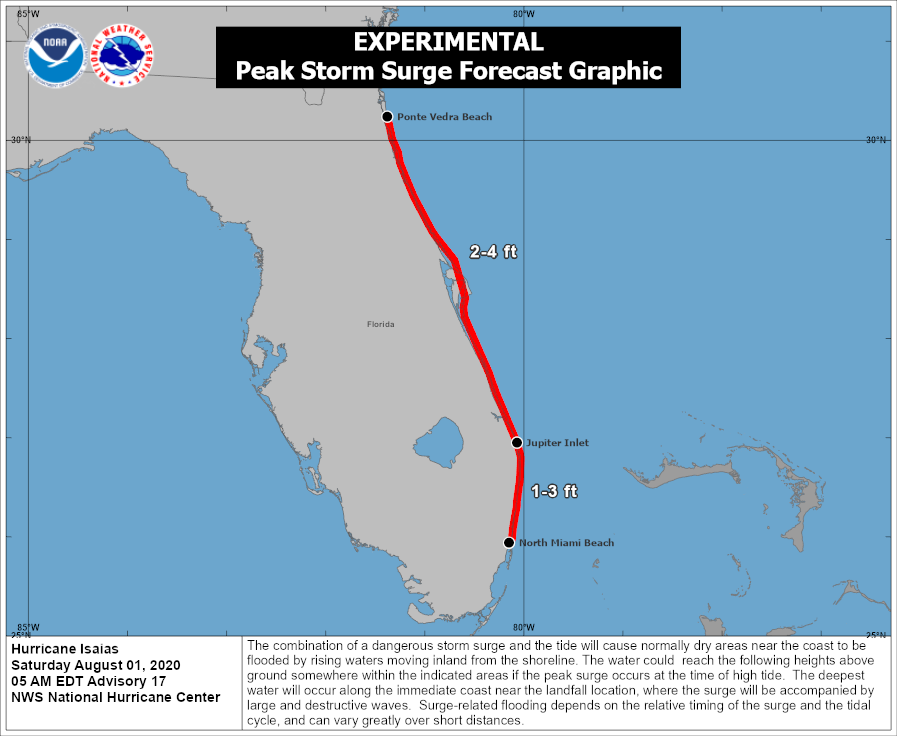 Dangerous storm surge is possible along the Florida east coast from Jupiter Inlet to Ponte Vedra Beach where water rises of 2-4 feet above ground level are possible. Follow advice given by local emergency officials.  Visit  for more.