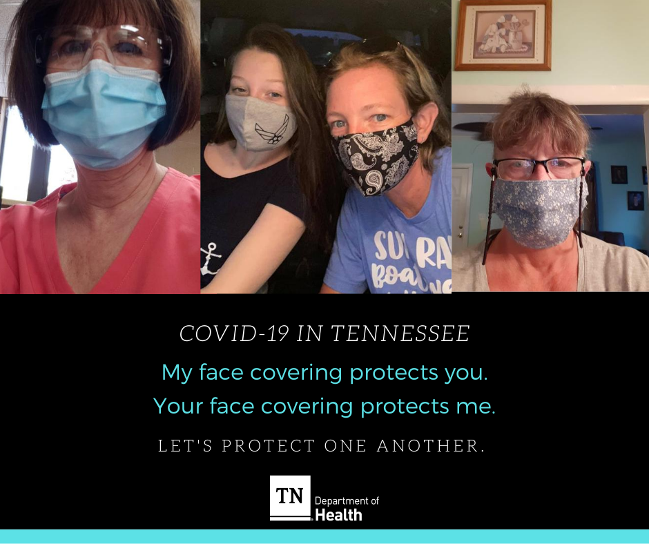 My face covering protects you. Your face covering protects me. Let's protect one another Tennessee. Learn more: . [We'd love to feature you in one of these posts of real Tennesseans wearing a face covering! Reply with your selfie!]