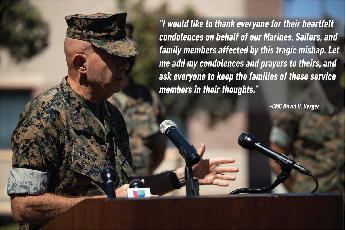 The commandant of the U.S. Marine Corps gave his condolences and heartfelt words to the Marines, Sailors and families that were affected by the tragic event that occurred July 30, 2020.
