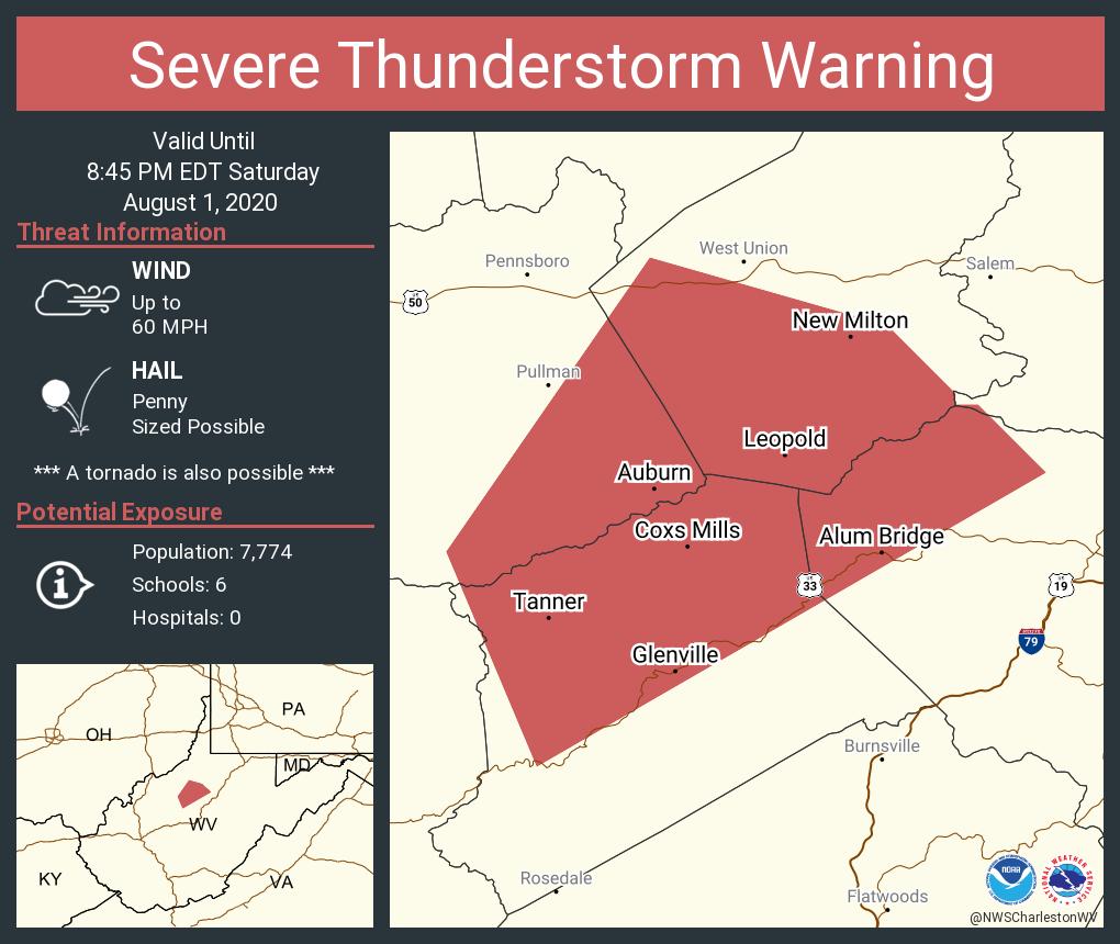 Severe Thunderstorm Warning including Glenville WV, Auburn WV, Leopold WV until 8:45 PM EDT