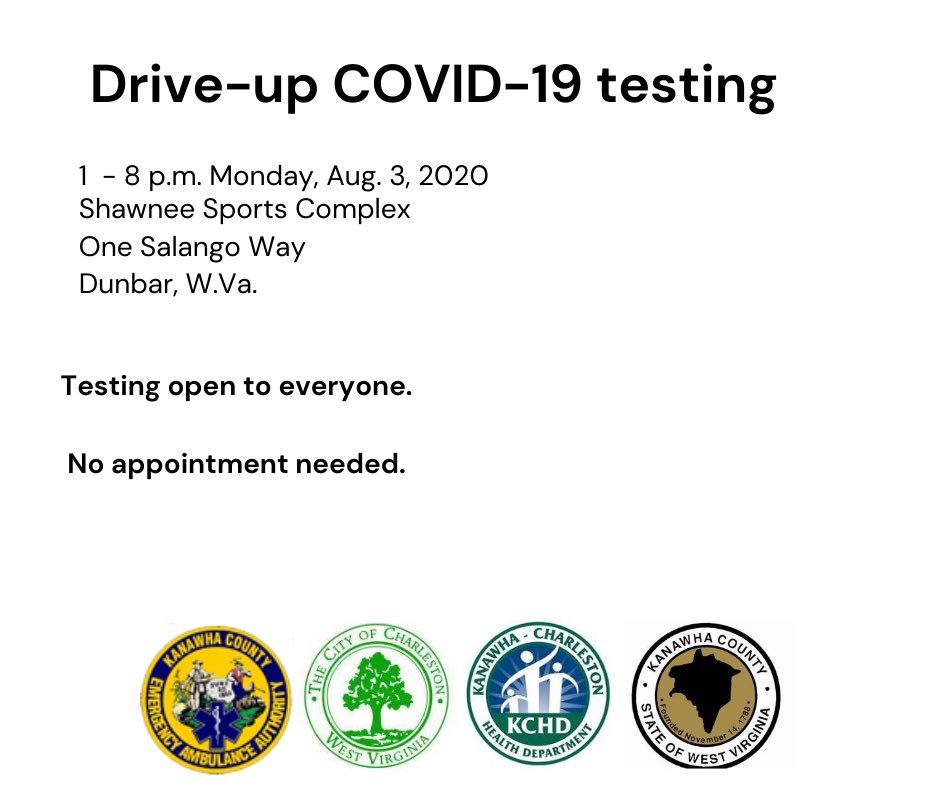 ‼️COVID-19 Testing Events Monday and Thursday in Kanawha County ‼️