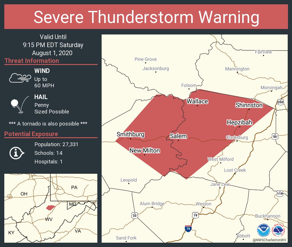 Severe Thunderstorm Warning including Shinnston WV, Salem WV, Enterprise WV until 9:15 PM EDT