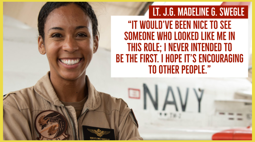 Lieutenant Madeline Swegle, who made history as the U.S. Navy's first Black female tactical fighter pilot, received her Wings of Gold on Friday