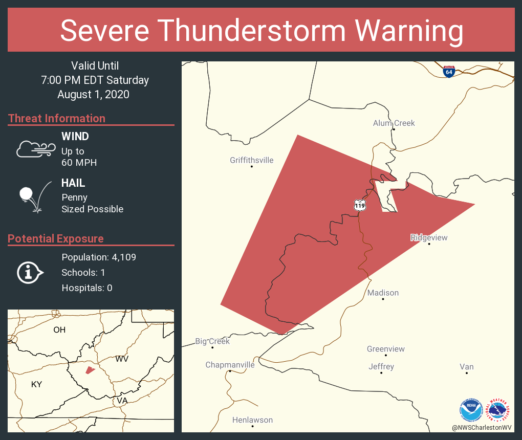 Severe Thunderstorm Warning including Lincoln County, WV, Boone County, WV, Kanawha County, WV, Logan County, WV until 7:00 PM EDT