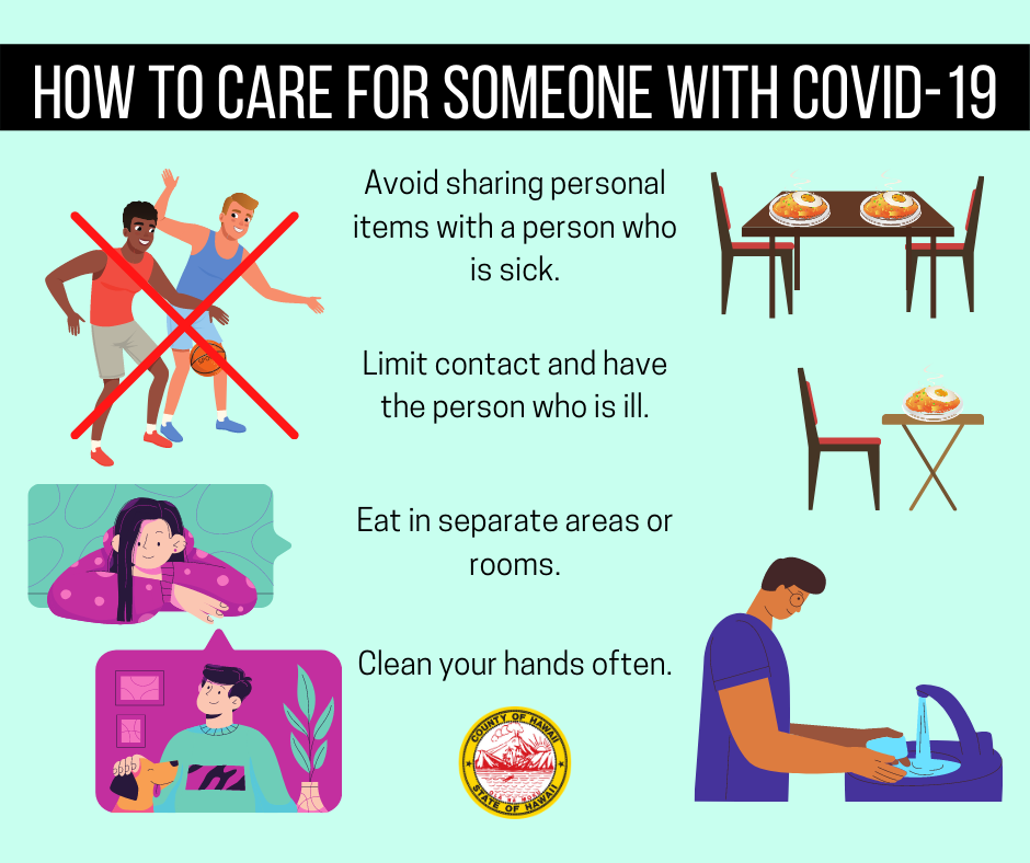 Here are some tips if a family member becomes sick with Covid-19. Limit contact and have the person who is ill use a separate bedroom. Eat in separate areas or rooms. Avoid sharing personal items with a person who is sick. Clean your hands often.