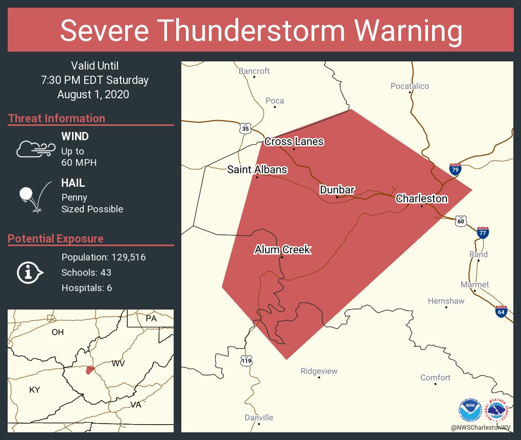 Severe Thunderstorm Warning including Charleston WV, South Charleston WV, Saint Albans WV until 7:30 PM EDT