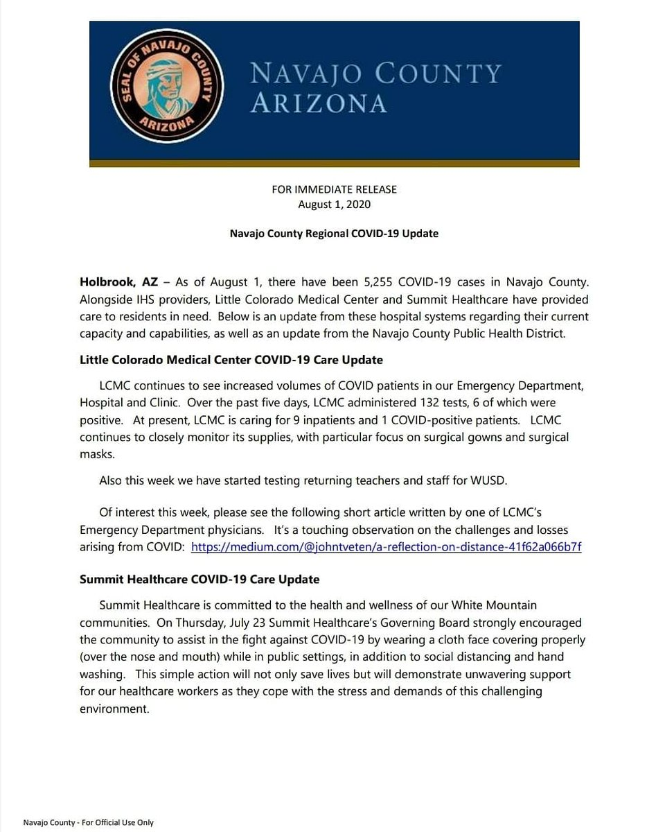 8/1 FOR IMMEDIATE RELEASE:  Navajo County Regional COVID-19 Update:
