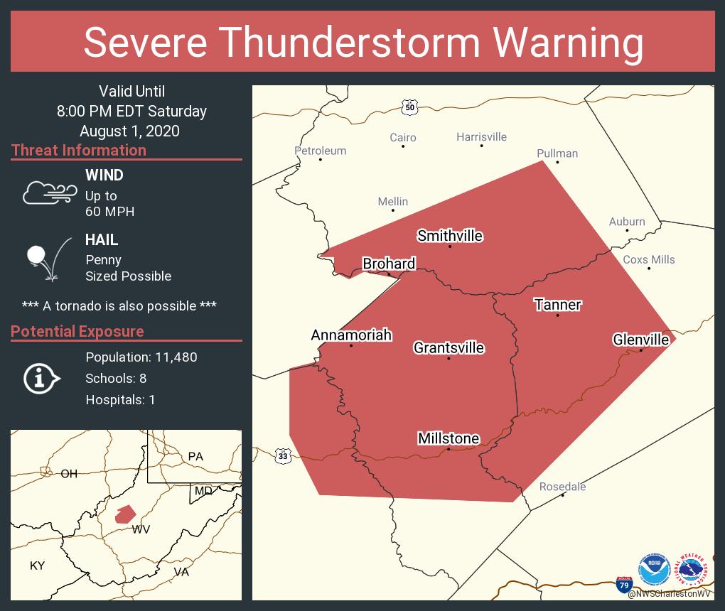 Severe Thunderstorm Warning including Glenville WV, Grantsville WV, Annamoriah WV until 8:00 PM EDT