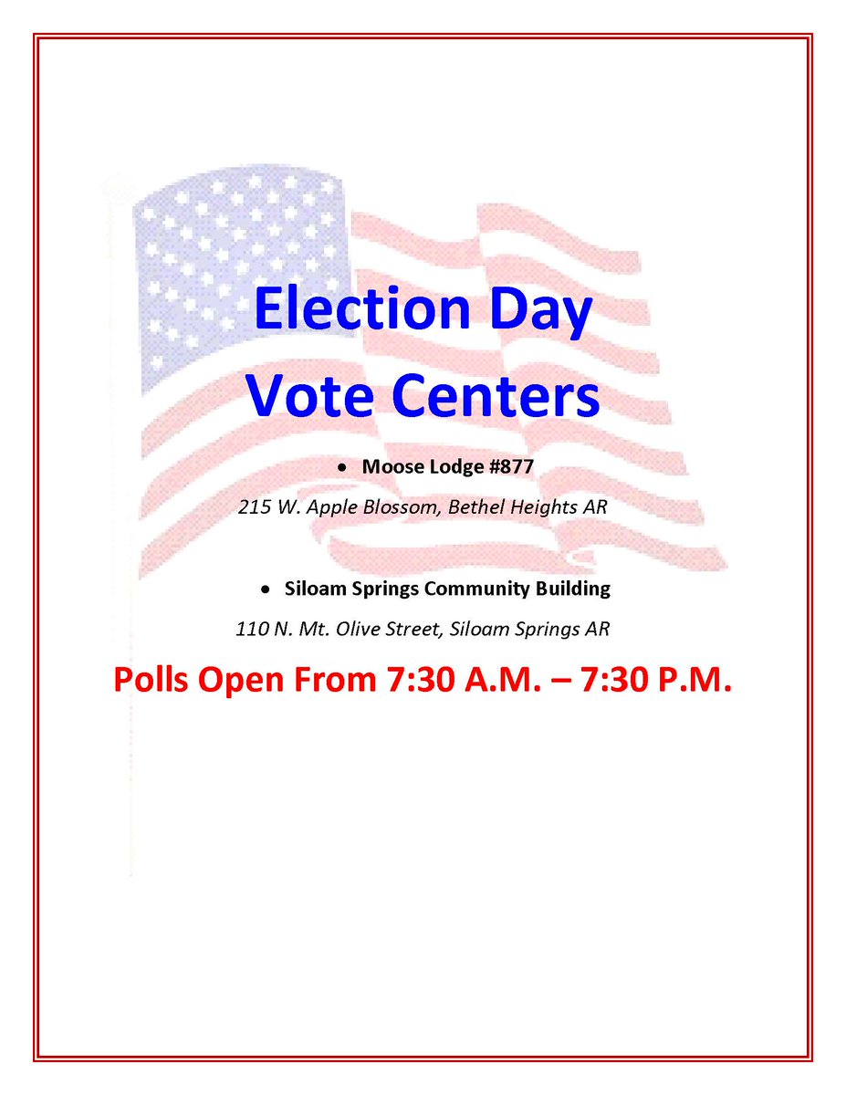 Siloam Springs Primary and Bethel Heights - Springdale special election is August 11th. Here are the voting locations.