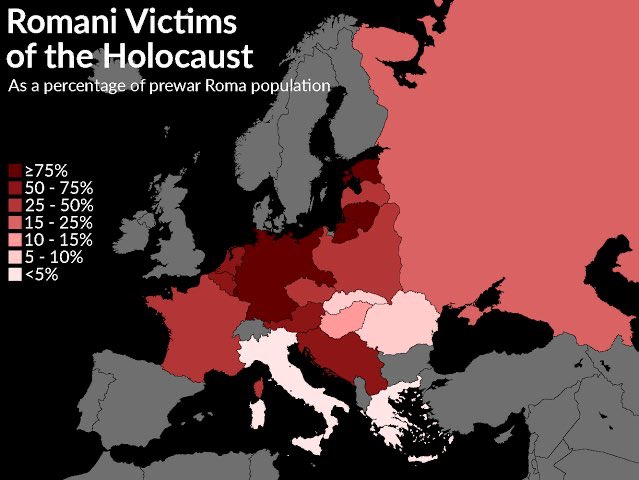 Today is Roma Genocide Remembrance Day.   Historians estimate that between 500,000 Romani were killed by the Nazis. 50% of the slightly fewer than 1 million Roma in Europe at the time.