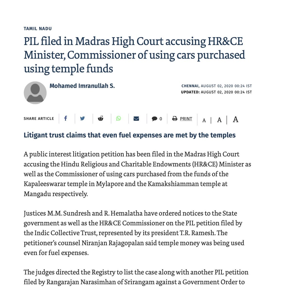 PIL filed by @indiccollective and I  accusing HR&CE Minister, Commissioner of using cars purchased using temple funds  @Swamy39 @jsaideepak @BJP4India @Mahesh10816 @RangarajPandeyR @TVMohandasPai @anuraag_saxena @vhsindia @vsclekha @jagdishshetty