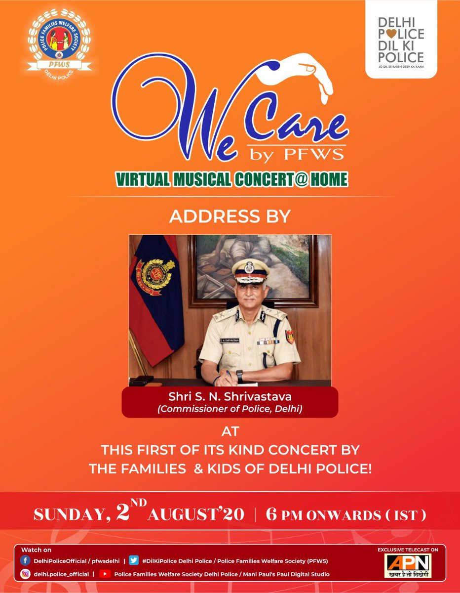 "Behold the distinctive address by Commissioner of Delhi Police ""Shri.S.N. Shrivastava"" today at the virtual concert!"