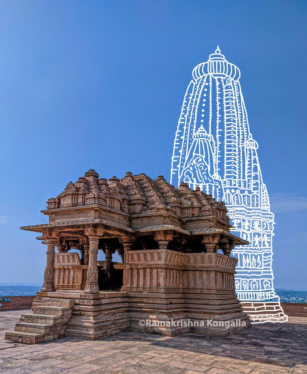 Smaller Vishnu Temple of SahastraBahu Temple Complex of Gwalior Fort, Madhya Pradesh.  Only Maha Mandapa & Mukha Mandapa survived.  I have tried to re-create the Garbha Griha & Shikhara.  @ReclaimTemples @punarutthana @LostTemple7